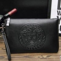 Versace Fashion Women Men Casual Leather Handbag Business Envelope Purse Bag