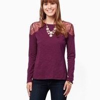 Aziza Lace Top | Fashion Apparel and Clothing - Knits and Tees | charming charlie