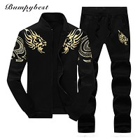 Zipper Jacket Pant Polo Set Casual Sporting Suit Hoodie Men's Tracksuit Sweatshirt Male Two Pieces Set