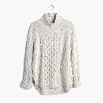 Cableknit Shirttail Turtleneck Sweater : | Madewell