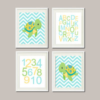 Baby Boy Nursery Sea Life Nursery Sea Animals Turtle Nautical Nursery Alphabet Numbers Set of 4 Prints Boy Nursery Boy Bathroom Wall Art