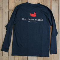 Southern Marsh Authentic Long Sleeve Tee- Navy