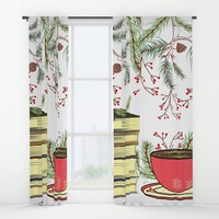 Winter Books and Tea Window Curtains by famenxt