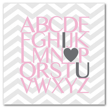 Nursery Wall Art - ABC I love you - I heart you - Love - Kids Art - New Baby Gift - Nursery print - Gray chevron Typography Word Art