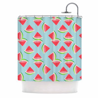 """afe images """"Watermelon Slices Pattern"""" Red Blue Illustration Shower Curtain"""