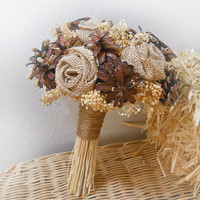 FREE Shipping! Rustic Pinecone, Burlap & Wheat Bouquet, handmade of Pinecones, Burlap Roses, Wheat and Babies Breath. Made to Order.