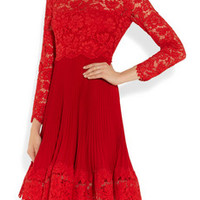 Valentino Lace and plissé silk-crepe dress – 70% at THE OUTNET.COM