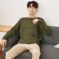 Men  Spring Autumn Fashion Long Sleeve Knitted Men Cotton Sweater High Quality Clothes
