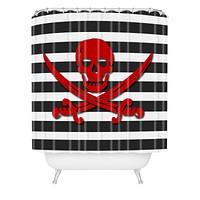 Lara Kulpa Red Pirate Shower Curtain