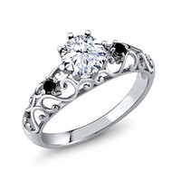 Sterling Silver White Sapphire & Black Diamond Women's Ring - Special Offer