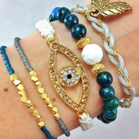 Truly Teal Arm Candy Stacked Bracelet Set