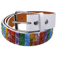 Splatter Rainbow Studded Leather Belt