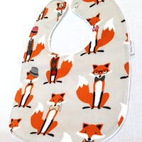 Baby Bib - Modern Baby Bib- Fox and the Houndstooth Bib - Hipster Baby Bib - White Bubble Dot Minky Backing - Handmade Baby Gift