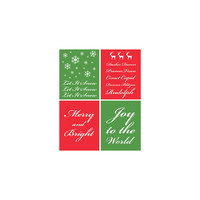 INSTANT DOWNLOAD Christmas Printables, Set of 4 Christmas Prints, Traditional Christmas, Red and Green, Let It Snow, Merry and Bright