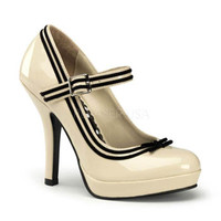 Cream Black Velvet Trim Mary Jane Heels w/ Bow - pleaser usa style: secret 15 #retroshoes #creamheels #maryjanes #pinupshoes #50sstyleshoes