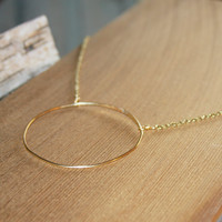 Large Circle Necklace, Gold Circle Necklace, Open Circle Necklace, Karma Circle Necklace, Simple Geometric Necklace, Gifts for Her
