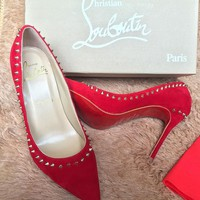 CL Christian Louboutin Women Rivet Heels Shoes