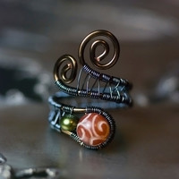 """Red Jade Pearl Copper Wirework Ring - Handcarved Jade, Olive Green Peacock Freshwater Pearl, Vintage Bronze - """"Red Sun Rising"""""""