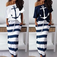 2020 new women's anchor print one-shoulder top + striped skirt two-piece suit