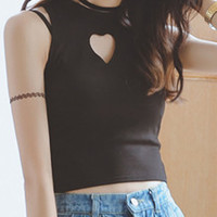 Black Heart Cutout Tank Top