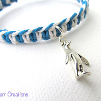 Penguin Macrame Bracelet, Turquoise and White Fishbone Pattern Hemp Jewelry