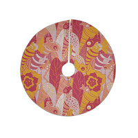"""Akwaflorell """"Fishes Here, Fishes There III"""" Pink Orange Tree Skirt"""