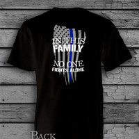 Police Officer Thin Blue Line Tattered American Flag Quote T-Shirt - Tank Top - Baseball T-Shirt