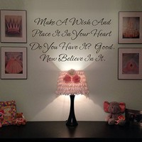 GECKOO Nursery Decor-Make a Wish and Place it in Your Heart - One Tree Hill Quote Vinyl Room Wall Sticker(Black,Small)