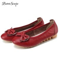 BuonoScarpe Women Slip On Butterfly Knot Flats Genuine Leather Oxfords Nurse Shoes Flat Big Size Rhinestone Lofers Zapatos Mujer