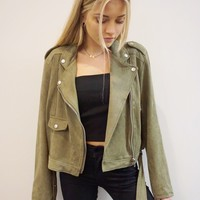 """Hey Moto"" Vegan Suede Jacket"