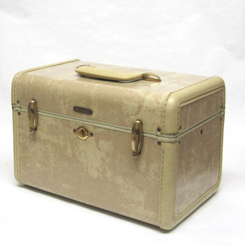 Samsonite Train Case White Marbleized Ivory Case Shwayder Brothers Carry on Travel Cosmetic Luggage