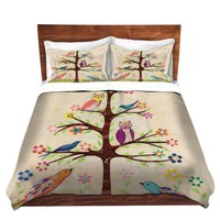 Duvet Cover Brushed Twill Twin, Queen, King SETs from DiaNoche Designs by Sascalia Unique Home Decor and Designer Bedding Ideas - Owl Bird Tree 2