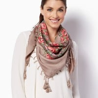 Tea Rose and Tassel Scarf | Fashion Accessories - Scarves | charming charlie