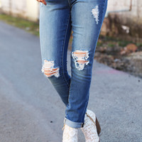 Distressed Boyfriend Skinnies