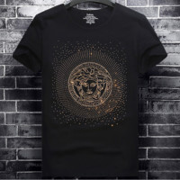 Versace tide brand gold hot drilling men's personality wild round neck T-shirt black