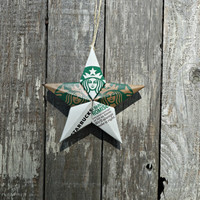 Upcycled Starbucks Coffee Cup Star Ornament - The Coffeehouse Collection