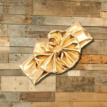 "Cute Girl Headband, Metallic Gold 5"" Big Bow Headband"