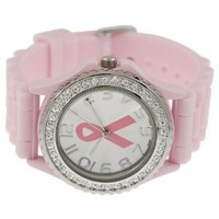 Women's Rhinestone-accented Large Face Breast Cancer Awareness Silicone Watch