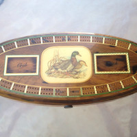 Cribbage Game Board, Wood Cribbage Board, Mid-Century Game, Solid Wood Game Board, Retro American Made Game, Duck Cribbage Board Game