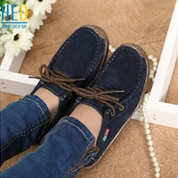 2015 spring women genuine leather shoes woman Hand-sewn suede leather flats cowhide flexible boat shoes women loafer plus size