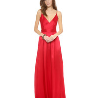 V-Neck Backless Empire Maxi Dress