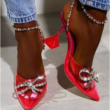 Hot style fashion pointed PVC rhinestone glass crystal heel sandals