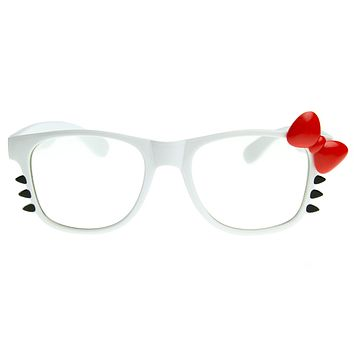 Cute Womens Kitty Bow Clear Lens Glasses With Whiskers 8499