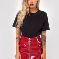 Ring Mini Skirt in Pu Shiny Wine by Motel