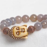 15%OFF Grey Agate Beaded Bracelet with Ivory Buddha