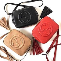 Gucci Tassel Women Solid Color Leather Crossbody Satchel Shopping Shoulder Bag