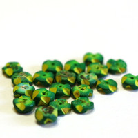 20 Green and Yellow, Disc Wooden Beads - Jewelry Making Disc Beads - Small Beads