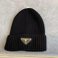 Prada Inverted triangle iron standard knitted hat ins couple hat wild wool tide hat