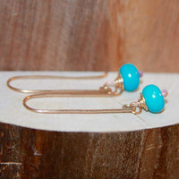 Turquoise Dangle Earrings, Blue 14k Gold Filled Long Dangle Earrings, Short Dangle Earrings, Sterling Silver Earrings by Birch Bark Design