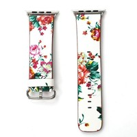 Pink Cabbage Rose Floral Printed Leather Watch Band Strap for Apple Watch